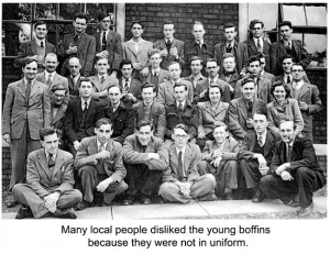 Some of the young scientists who moved to Malvern in 1942 to develop radar