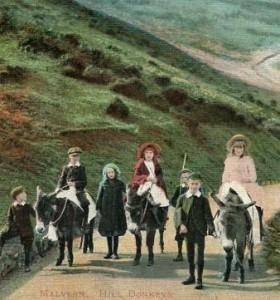 Donkey children leading the donkeys in Malvern