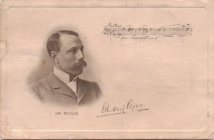 A postcard, dated 1906, of Edward Elgar with his signature and a snippet from the Dream of Gerontius