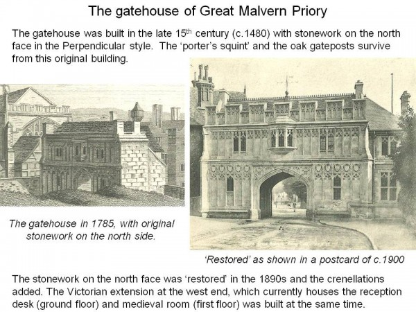 Two illustrations showing the Gatehouse at Malvern before and after the 1891 restoration