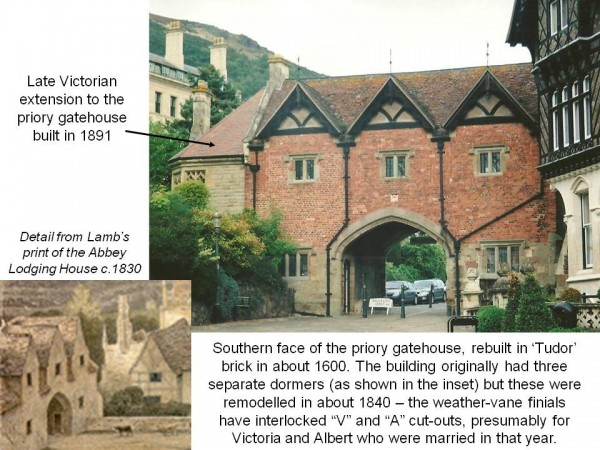 Two illustrations showing the Priory Gatehouse before and after the 19th century restoration of the abbey gatehouse at Malvern