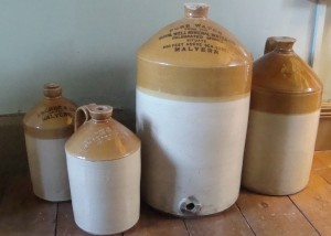 Flagons containing products made from Malvern's pure water