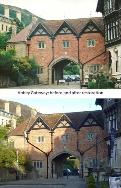 Restored layout of drainpipes on Tudor (south) side of Gatehouse