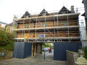 Scaffolding on the south side on the Gatehouse