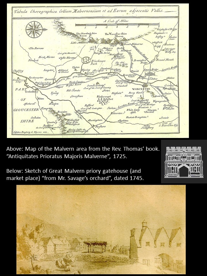 The earliest printed map of the Malvern area, and the earliest view of the rear of the gatehouse.