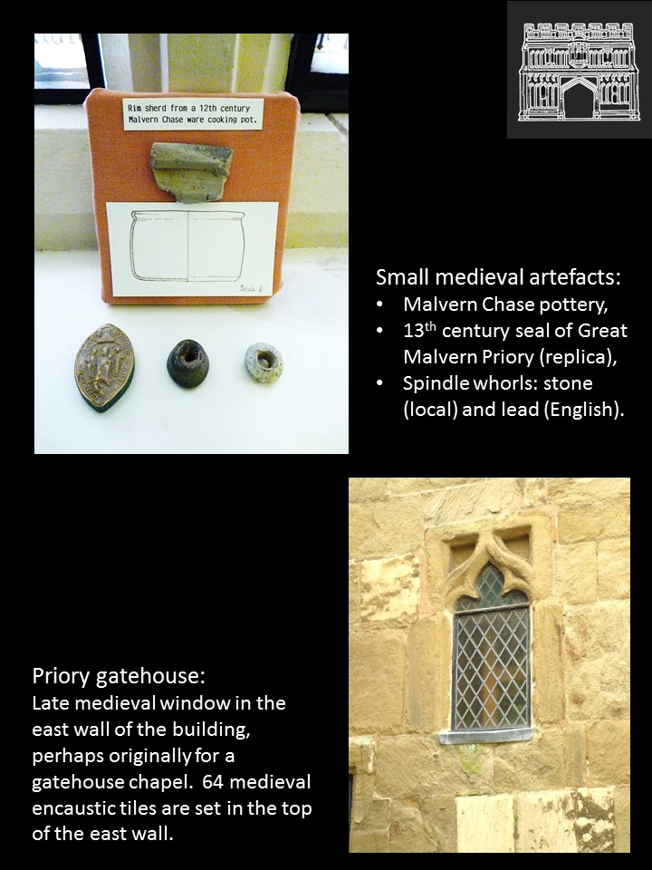 Small medieval items (above) and a medieval survivor in the gatehouse (below)