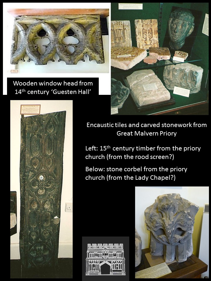A selection of medieval items from, Great Malvern Priory